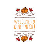 Vector handdrawn autumn element with text Stock Photo