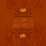 Vector handdrawn autumn element with text Royalty Free Stock Image