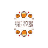 Vector handdrawn autumn element with text. Hand-sketched typographic element with pumpkins, hearts, pumpkin spice latte and text on white background. Happy Royalty Free Stock Image
