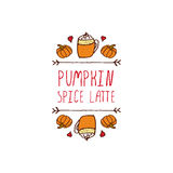 Vector handdrawn autumn element with text Stock Image