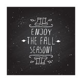 Vector handdrawn autumn element with text Royalty Free Stock Photos