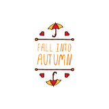 Vector handdrawn autumn element with text Stock Images