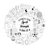 Fitness and sport elements in doodle style Stock Illustration