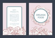 Vector handdrawn fruits and vegetables vegan, healthy food card, brochure, flyer template. Organic food banner illustration vector illustration