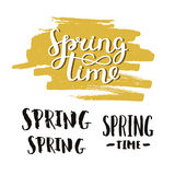 Vector handdrawn lettering Spring time. On brush stroke with grunge texture. Spring sign on yellow paint stain Royalty Free Stock Image