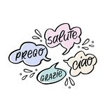 Vector handdrawn speech bubble colorful set with italian handwritten words. Ciao, salute, prego, grazie, Hello, Cheers, You are welcome, Thank you royalty free illustration
