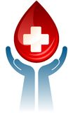 Vector handen met bloeddaling. Stock Afbeeldingen