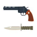 Vector handgun and knife icon. Royalty Free Stock Photography