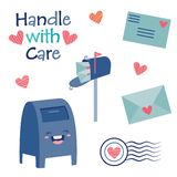 Vector Handle with Care Cute Postal Mail Illustration royalty free stock images
