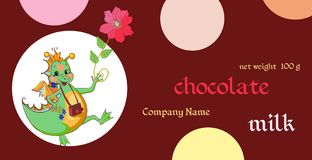 Vector handmade chocolate packaging design. Template with fairy dragon. Vector handmade chocolate packaging design. Template with fairy green dragon. Chinese Stock Image