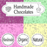 Vector handmade chocolates packaging templates and design elements for candy shop - cardboard with emblems and logos and Stock Photo