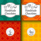 Vector handmade chocolates packaging templates and design elements for candy shop - cardboard with emblems and logos and. Seamless patterns royalty free stock photos