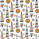 Vector handmade seamless pattern. Abstract repeat background with button. Bright ethnic backdrop Royalty Free Stock Images