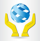 Vector hands and blue sphere icon stock illustration