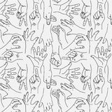Hands Gesture - Seamless Black and White Pattern royalty free illustration