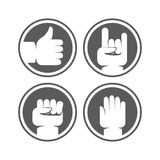 Vector hands and gestures signs in black and white colors Stock Image
