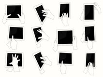 Vector hands holding digital tablet pc. Hands holding and pointing digital tablet pc web black and white flat design silhouettes set Stock Images