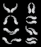 Vector hands icons. Black and white. Simply change Stock Photo