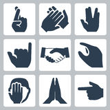 Vector hands icons set. Cross fingers, applause, vulcan salute and shaka, handshake, facepalm, namaste, pointer Royalty Free Stock Image