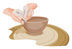 Vector of hands making pottery. Stock Photography