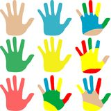 Vector hands multicolored set isolated on white Stock Photos