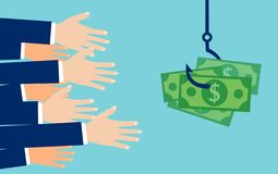 Vector of hands reaching out to get money on the hook. stock illustration