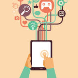 Vector hands and tablet pc with internet icons Royalty Free Stock Photos
