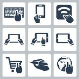 Vector hands and technology icons set Royalty Free Stock Photo