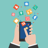 Vector Hands touching a Smart phone Royalty Free Stock Photos