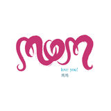 Vector handwriting letters mom text doodles for Mother's Day Stock Photography