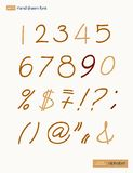 Vector handwritten arabic numerals set Royalty Free Stock Image