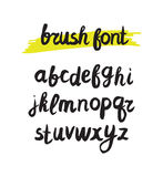 Vector handwritten brush alphabet on white background.. Hand drawn calligraphic font. Stylized Lettering Royalty Free Stock Images