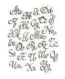 Vector handwritten calligraphic font Royalty Free Stock Photo