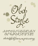 Vector handwritten calligraphic font. Old style Stock Photography