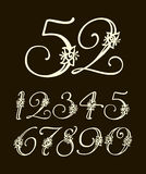 Vector handwritten calligraphic font. Set of numbers for holidays, anniversaries, births Royalty Free Stock Photos