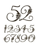 Vector handwritten calligraphic font. Set of numbers for holidays, anniversaries, births Stock Photography