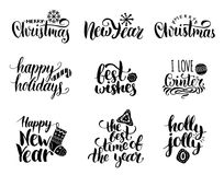 Vector handwritten Christmas and New Year calligraphy set with fest decorations.Happy Holidays,Holly Jolly etc lettering. Vector handwritten Christmas and New Stock Photos