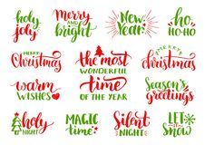 Vector handwritten Christmas and New Year calligraphy set with fest decorations.Happy Holidays,Holly Jolly etc lettering. Vector handwritten Christmas and New Stock Images