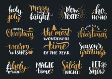 Vector handwritten Christmas and New Year calligraphy set with fest decorations.Happy Holidays,Holly Jolly etc lettering. Vector handwritten Christmas and New Royalty Free Stock Photos