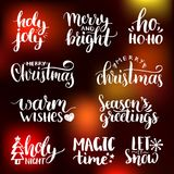 Vector handwritten Christmas and New Year calligraphy set with fest decorations.Happy Holidays,Holly Jolly etc lettering. Vector handwritten Christmas and New Stock Photography