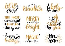 Vector handwritten Christmas and New Year calligraphy set with fest decorations.Happy Holidays,Holly Jolly etc lettering. Vector handwritten Christmas and New Stock Image