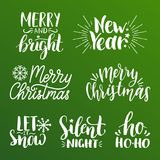 Vector handwritten Christmas and New Year calligraphy set of Merry and Bright, Let It Snow etc,. Vector handwritten Christmas and New Year calligraphy set of Stock Photography