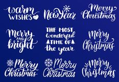 Vector handwritten Christmas and New Year calligraphy set of Merry and Bright, Warm Wishes etc. Vector handwritten Christmas and New Year calligraphy set of Royalty Free Stock Images