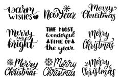 Vector handwritten Christmas and New Year calligraphy set of Merry and Bright, Warm Wishes etc. Vector handwritten Christmas and New Year calligraphy set of Royalty Free Stock Image
