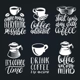 Vector Handwritten Coffee Phrases Set. Quotes Typography With Cups And Kettles Images. Calligraphy Illustrations. Royalty Free Stock Photography