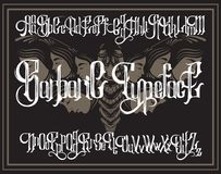 Vector handwritten gothic font for unique lettering with hand drawn illustration of surreal moth with human faces. Typography for card, poster, banner, print royalty free illustration