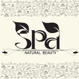 Vector handwritten  label black word spa natural beauty. Stock Photography