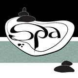 Vector handwritten  label black word spa and stacked stones   Royalty Free Stock Photo