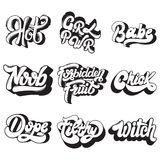 Vector handwritten lettering. Collection of pins for girls.