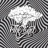 Vector handwritten lettering ` The end`. Made in vintage style. Hand drawn illustration of explosion.    Template for card, banner, print for t-shirt Stock Photo